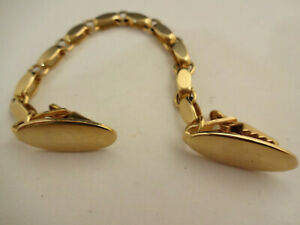 Great-Vintage-Gold-tone-Sweater-ro-Dress-Clip-or-Guard-Oval-Clips-and-Chain-Link