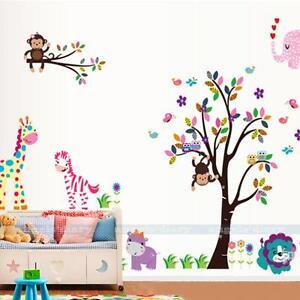 Diy removable art vinyl monkey giraffe owl tree wall for Diy tree mural nursery