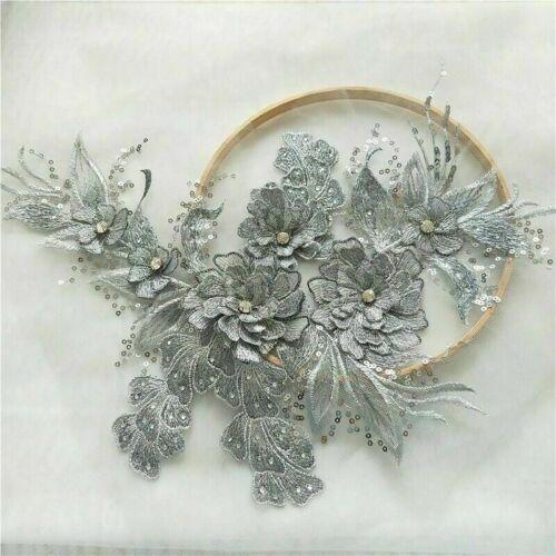 Stickereien Spitze Applikation 3D Pailletten Patch DIY Hochzeit Kleid Näh Borte