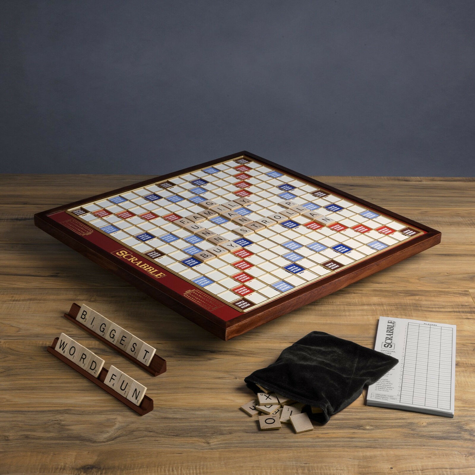 Scrabble Giant Giant Giant Deluxe Wooden Edition redating Wood Turntable Word Board Game New 08a152