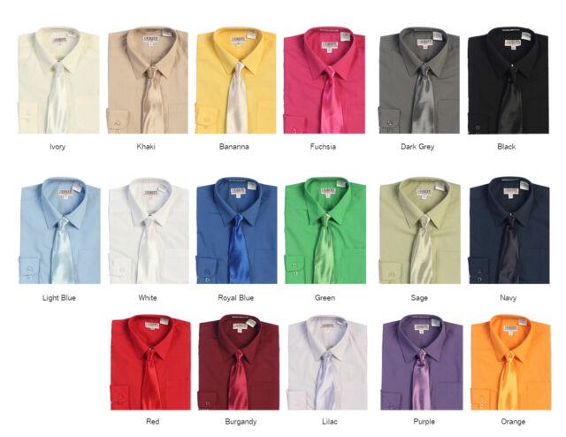 Gioberti Toddlers Kids Little Boys Long Sleeve Dress Shirt & Solid Clip Tie Set