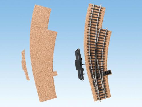 Bogenweiche rechts Noch 50436 Kork-Gleisbettung 3 mm hoch