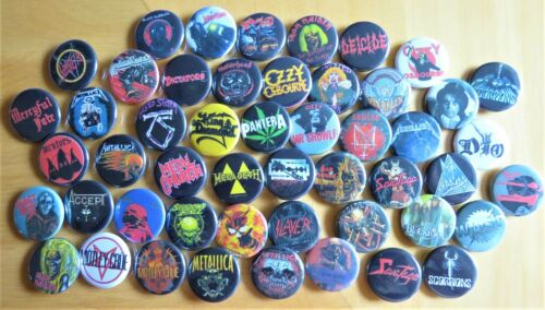 """50 LOT-15 /""""70/'s-80/'s/"""" Lot of POWER METAL PINS 1.25/"""" Round CLASSIC BUTTONS"""