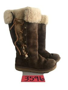 UGG AUSTRALIA 5163 Brown Lace Up Sheepskin Leather Tall Boots Womens Size 5