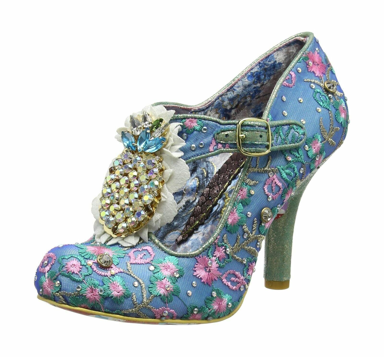 Irregular Choice Pea (E) Blau T-Riemen Stiletto Absatz Schleife Schuhe