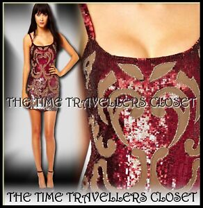 BNWT-Needle-amp-Thread-Etched-Red-Taupe-Sequin-Embellished-Mini-Dress-UK-6-RP-200