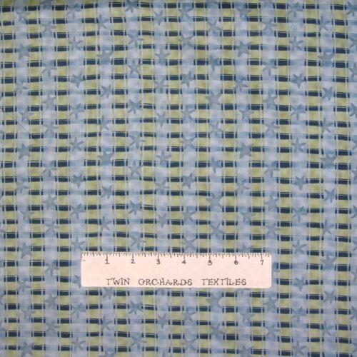 South Sea Imports YARD Calico Fabric Life/'s a Trip Blue /& Gray Stripe