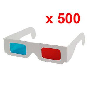 Lote-500-Gafas-3D-Anaglifo-Rojo-Cian-Nuevo-Azul-Carton