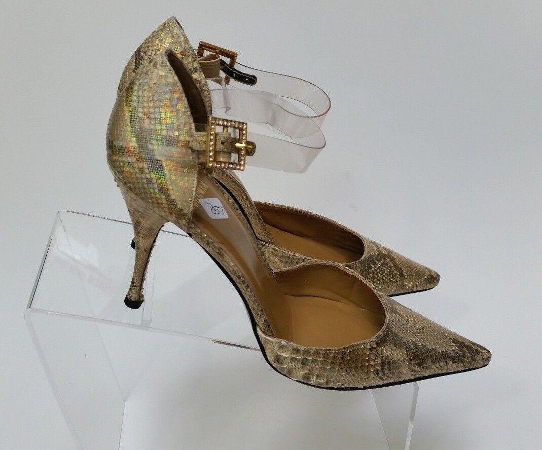 Stuart Weitzman Schuhes Heels Pumps Damenschuhe Snake Skin Gold Shimmer Damenschuhe Pumps Größe 7.5 B db1fb8