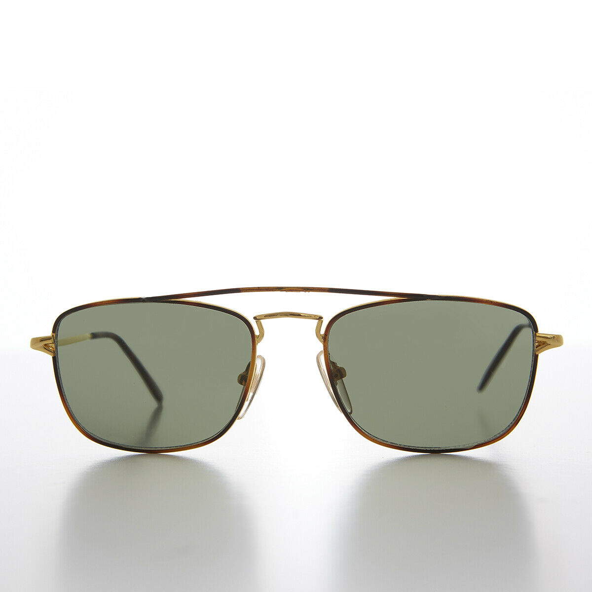 Gold Square Vintage Aviator Sunglass with Tortoise Accent and Green Lens - Jake