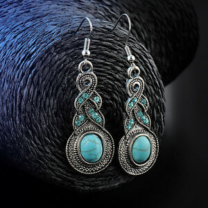 Women-Natural-Turquoise-Crystal-Tibet-Silver-Hook-Dangle-Earrings-Jewelry-hs
