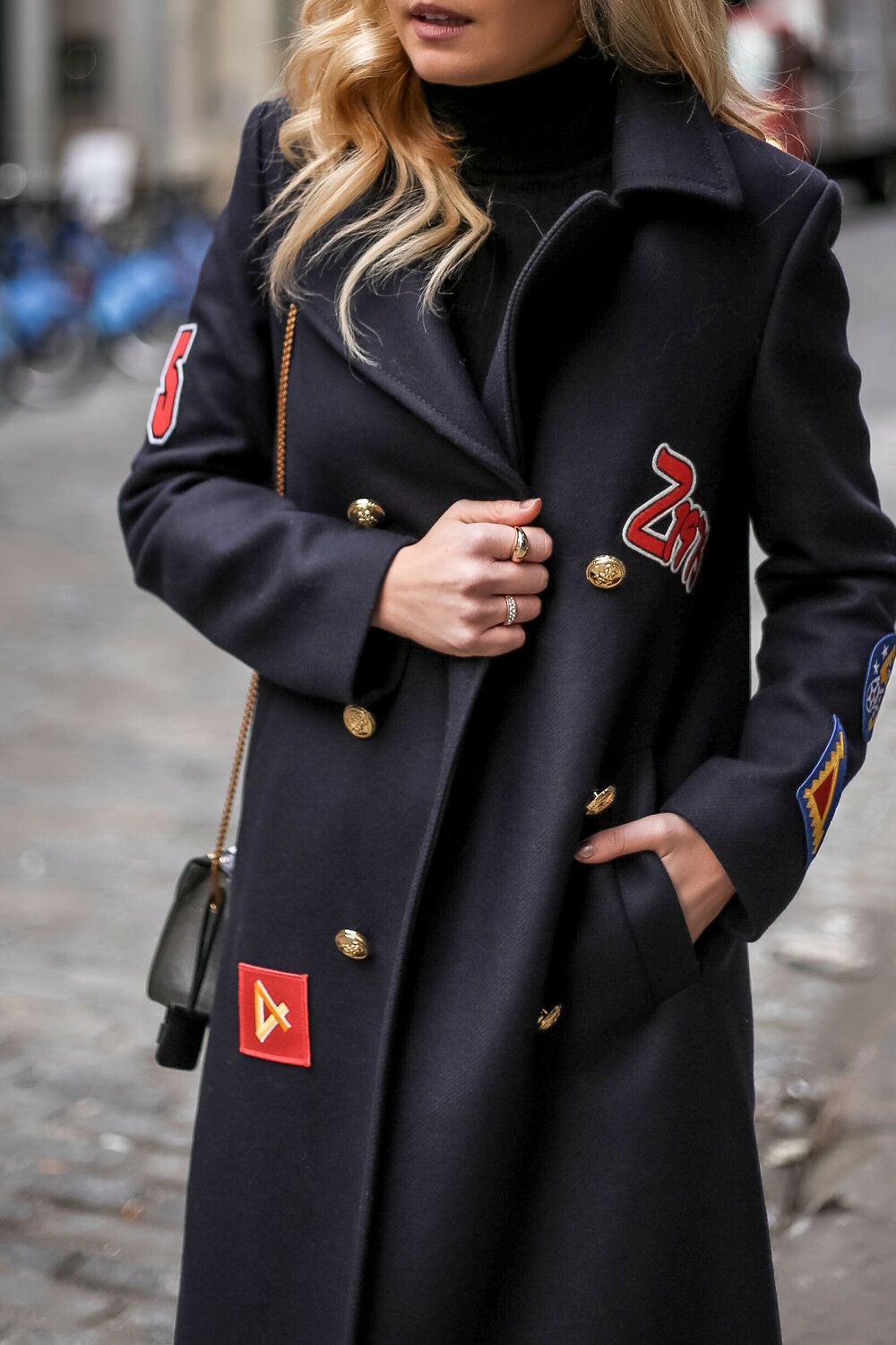 Zara Navy bluee Awesome Military Coat With Patches Bloggers Sold 7656 744 LARGE L