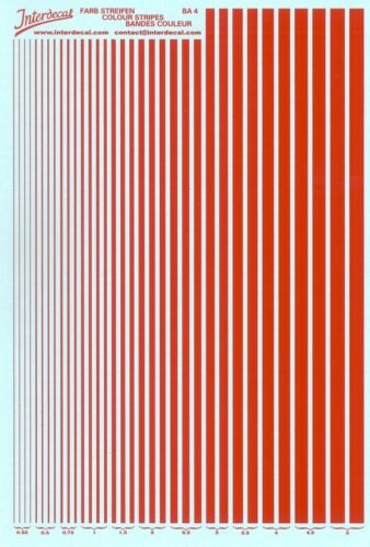 Maßstäbe BA4-06 Streifen rot 0,25-5,0 mm Decal Naßschiebebild Stripes versch