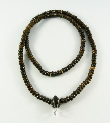Antique Necklace Brown Wooden Beads Buddha Buddhist For Thai Amulet Pendant
