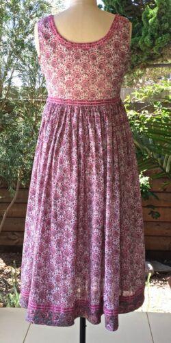 100/% Cotton Anokhi Sleeveless Sufi Dress Lined