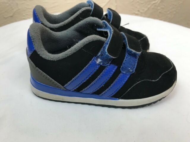 1a3a46b79326e6 Adidas Neo Sneakers Infant Boys Size 7K Black Royal Blue Velcro