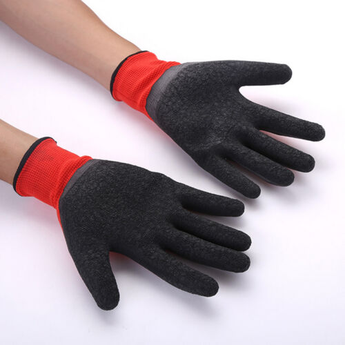 Black Red Nylon PU Safety Work Gloves Builders Grip Palm Coating Gloves