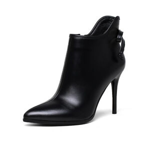 Elissara-Womens-Leather-Pointed-Toe-High-Heel-Ankle-Boots-Shoes-AU-Size-2-9
