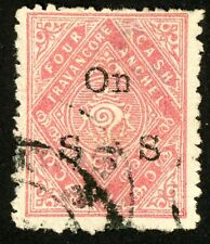 1930 India Travancore Official Stamp Scott #O20 4ca rose, Used, HR