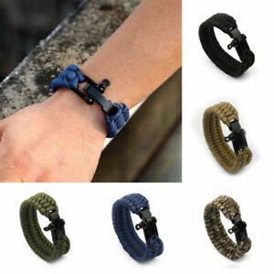 Men's Hiking Camping Cord Umbrella Bracelet With Whistle Emergency Ropes