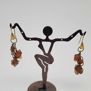 Orange-Brown-Sea-Glass-Wire-Wrapped-Gold-Tone-Cascade-Earrings