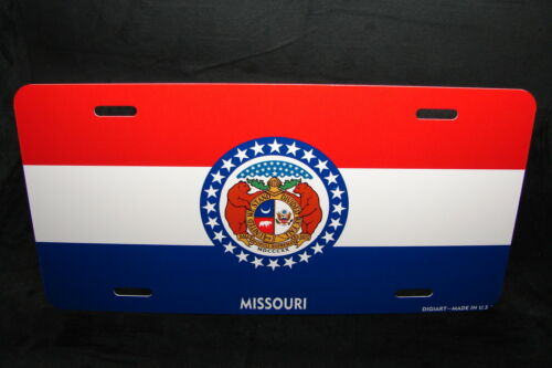 MISSOURI STATE FLAG METAL LICENSE PLATE TAG FOR CARS
