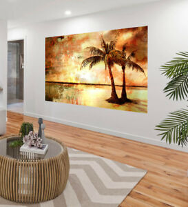"""Art Painting 39/"""" large Tropical Palm Tree Island Canvas print poster signed COA"""