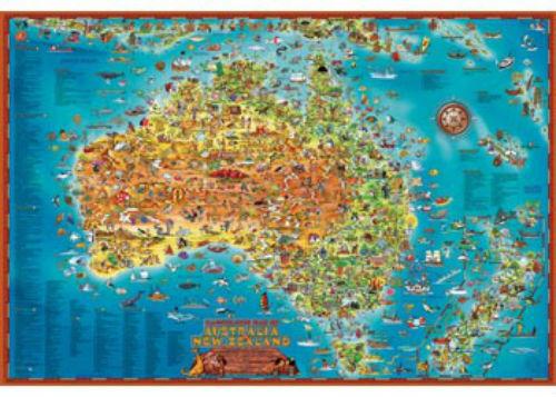 Blue Opal Giant Down Under Australian Map 300 piece Jigsaw Puzzle