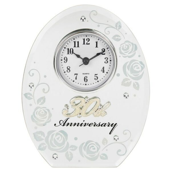25th Wedding Anniversary Clock 25 Years Of Marrage Silver Gift Uk Hover To Zoom