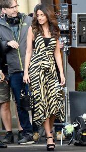 6d79ab26040b Image is loading Topshop-Zebra-Print-Pinafore-Dress-Sand-UK-Size-