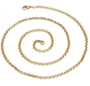 Ladies-18-034-Inch-22K-Yellow-Gold-GP-Open-Chain-Link-3mm-Necklace-N44