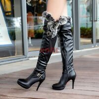 Pu Leather Fur Over Knee Boots High Heel Women's Knight Riding Boots Shoes C-35