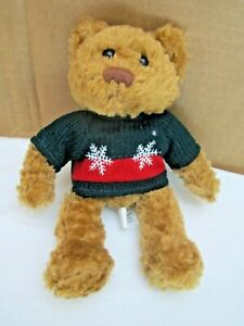 Christmas-Miles-Kimball-Small-7-034-Teddy-Bear-With-Red-amp-Green-Snowflake-Sweater