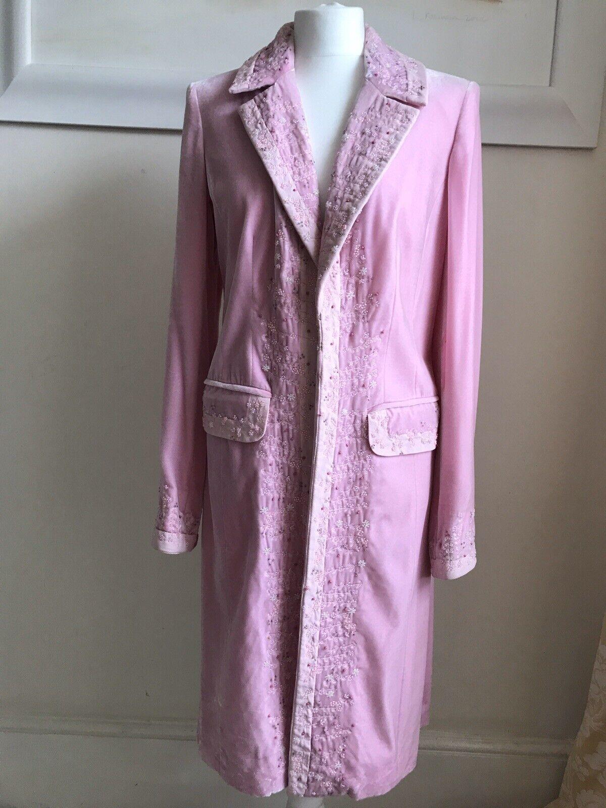 Laura Ashley Pink Velvet Coat With Ornate Beading Size 12