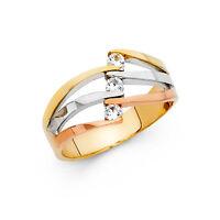 14k Solid Gold 3 Tri Color Semanario Ring Cz Three Tone Fancy Cocktail Ring