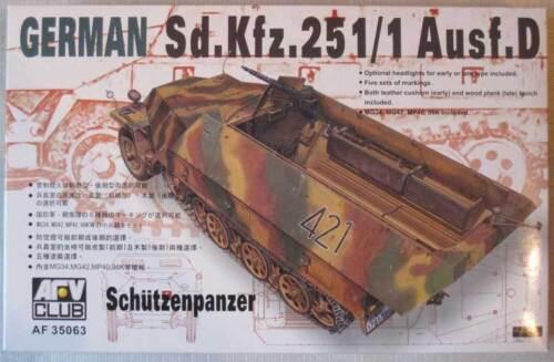 251//1 Asusf AFV Club German Sd Kfz D Schutzenpanzer 35063 1//35