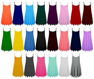 Ladies-Camisole-Cami-Flared-Skater-Womens-Strappy-Vest-Top-Swing-Mini-Dress-8-24