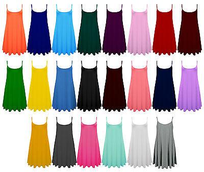 Womens Ladies Sleeveless Strap Long Flared Cami Swing Skater Dress Sizes 8-24
