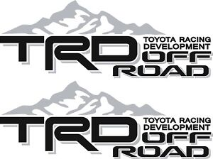 TOYOTA TRD Off Road Mountain / PAIR / Silver and Black Vinyl Vehicle Decals