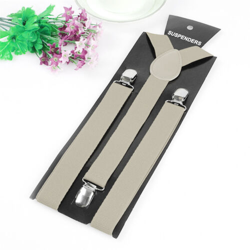 Women Men Clip-on Suspender Elastic Y-Shape Adjustable Braces Candy Color