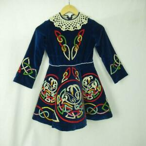 Girls-Irish-Dancing-Dress-Navy-Lace-Embroidered-Tailor-Made-Ireland-Est-9-10-yrs