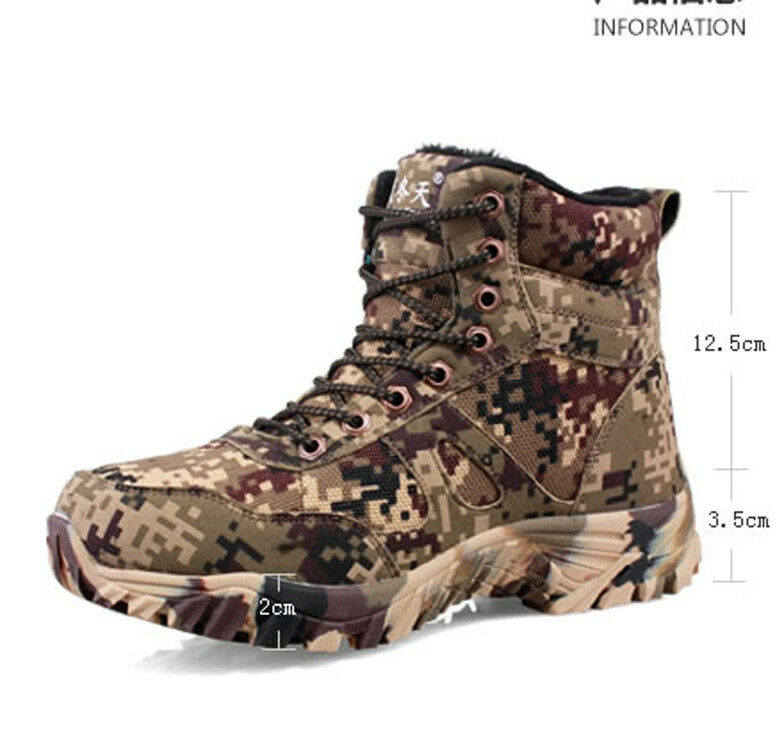 Winter Hiking  Hunting Mens Fleeces Camo shoes Tactical Military Desert Army Boot  outlet online store