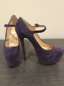 sports shoes 67e90 e6dd4 Details about Christian Louboutin Lady Daffodile Purple Suede