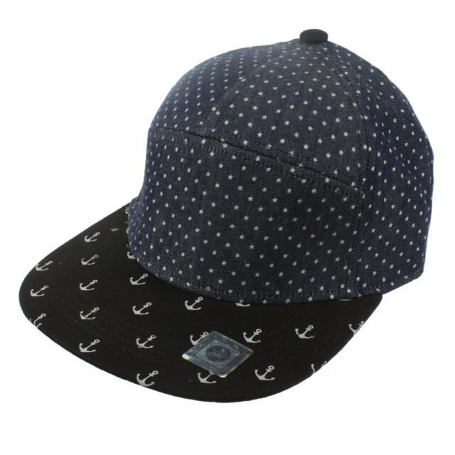 Men's Summer Cool Cotton Sail Yacht Anchor 7 Panel Snapback Cadet Cap Hat Navy