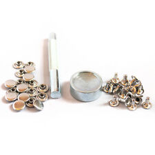 100 Silver 8mm Tubular Rivets Studs + Tool Setter Kit for Punk, Biker Craft DIY