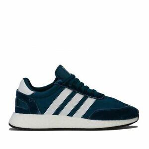 Femmes-Adidas-Originals-I-5923-lacets-maille-et-velours-Haut-Baskets-en-Bleu
