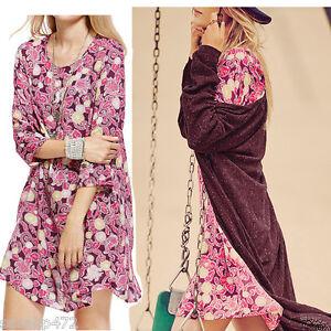 donna-motivo-floreale-chiaro-casual-vestito-in-jersey-NUOVI-MISURA-10-18