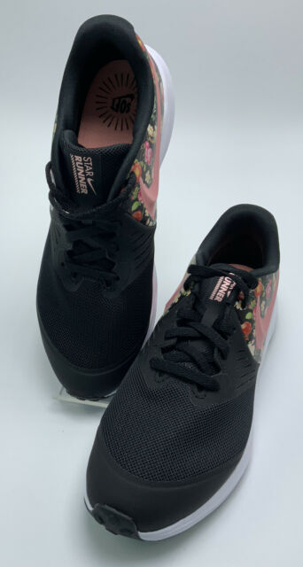 Nike Star Runner 2 Trainer Floral Running Shoes Black Size 4.5 Y