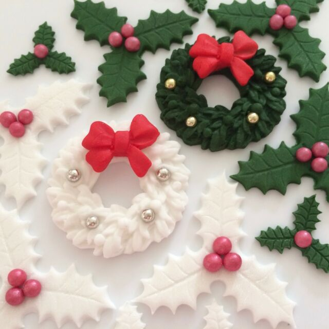 christmas holly wreaths edible sugar paste flowers cup cake decorations toppers - Christmas Holly Decorations