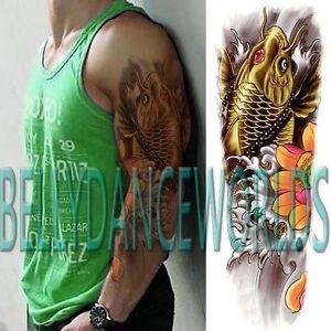 Whole Arm Full Hand Gold Koi Carp Fish Temporary Tattoo Man Men Body
